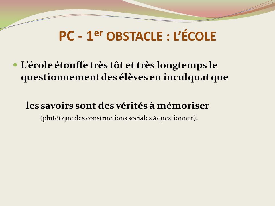 PC - 1er OBSTACLE : L'ÉCOLE
