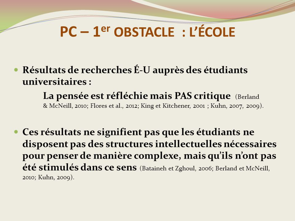 PC – 1er OBSTACLE : L'ÉCOLE
