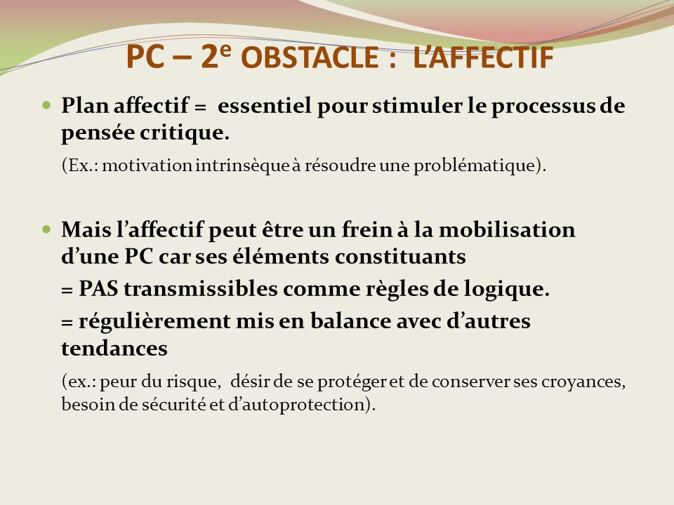 PC – 2e OBSTACLE : L'AFFECTIF