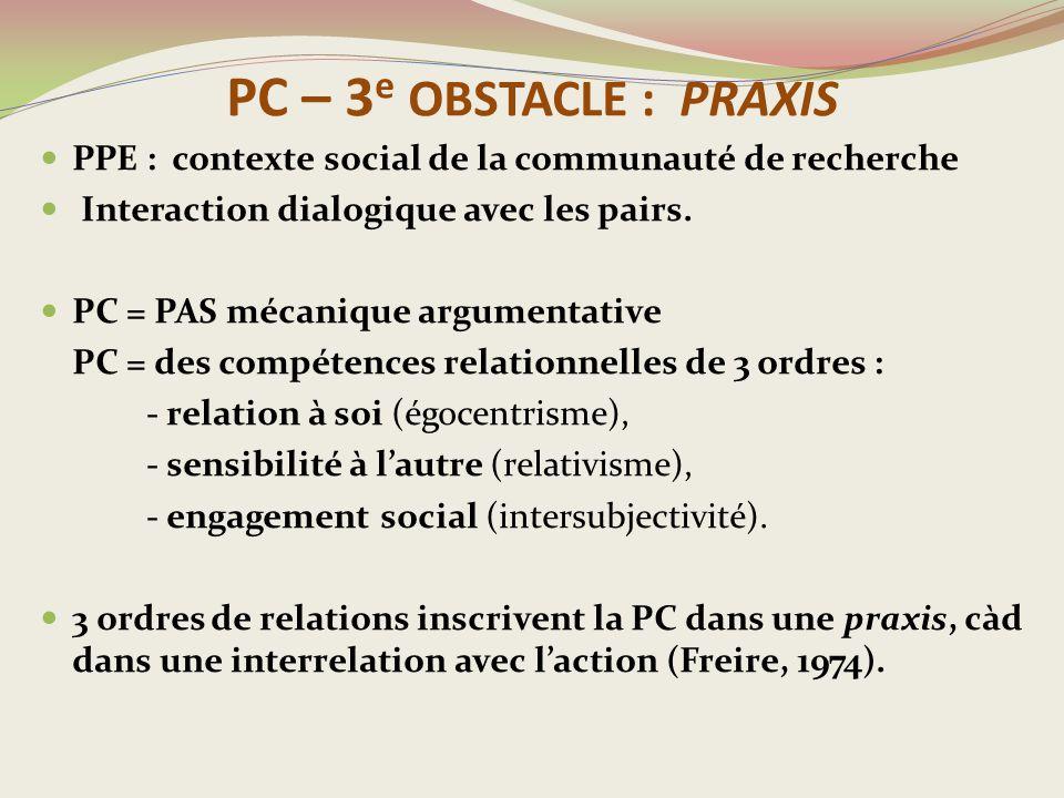 PC – 3e OBSTACLE : PRAXIS PPE : contexte social de la communauté de recherche. Interaction dialogique avec les pairs.