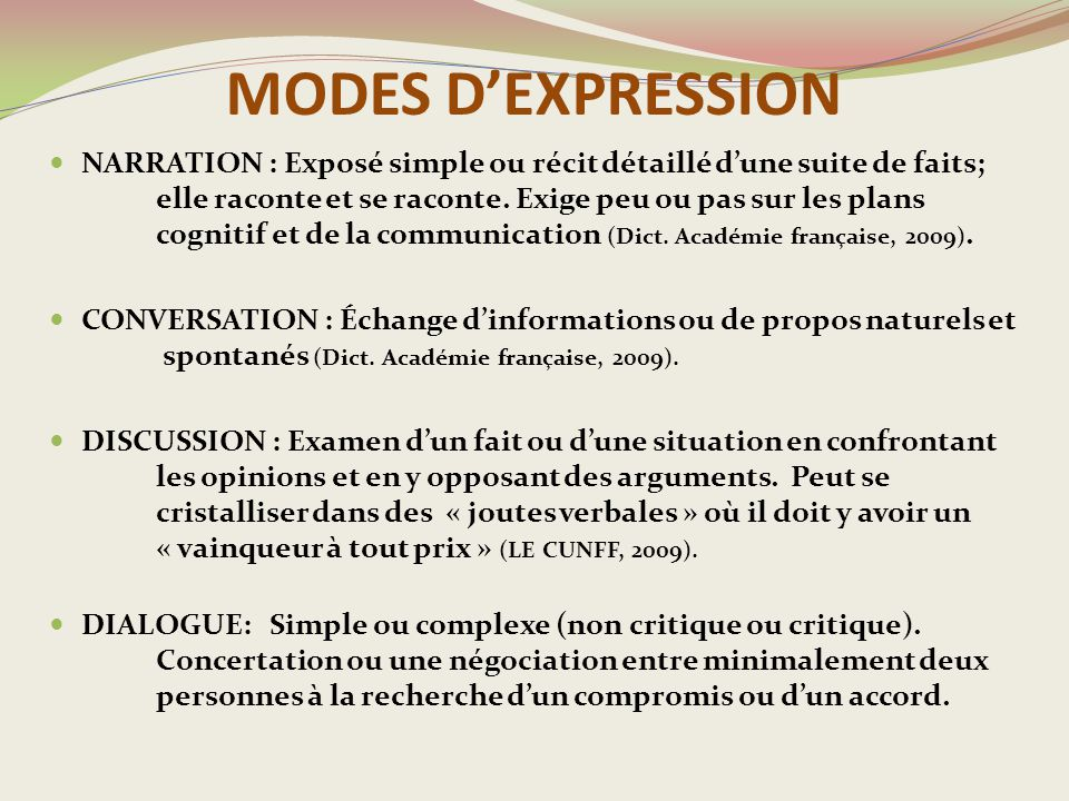 MODES D'EXPRESSION
