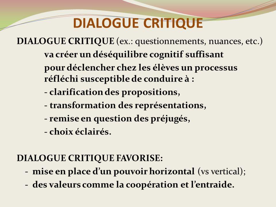 DIALOGUE CRITIQUE DIALOGUE CRITIQUE (ex.: questionnements, nuances, etc.) va créer un déséquilibre cognitif suffisant.