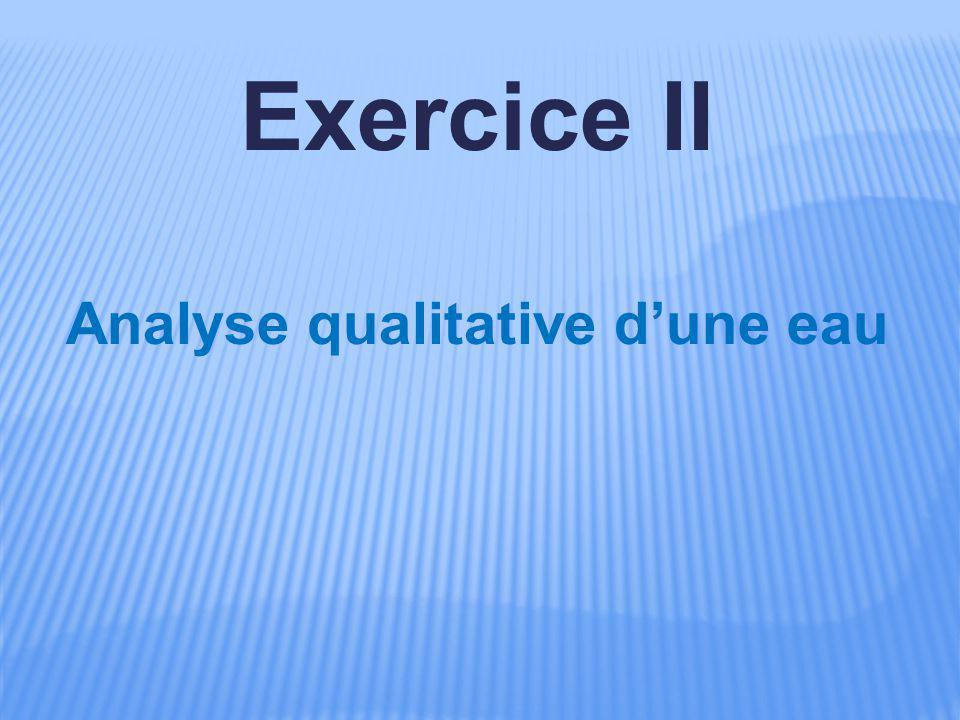 Analyse qualitative d'une eau