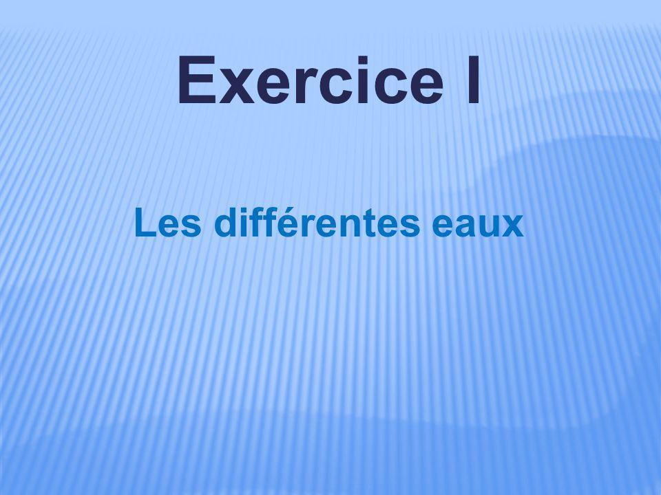 Exercice I Les différentes eaux