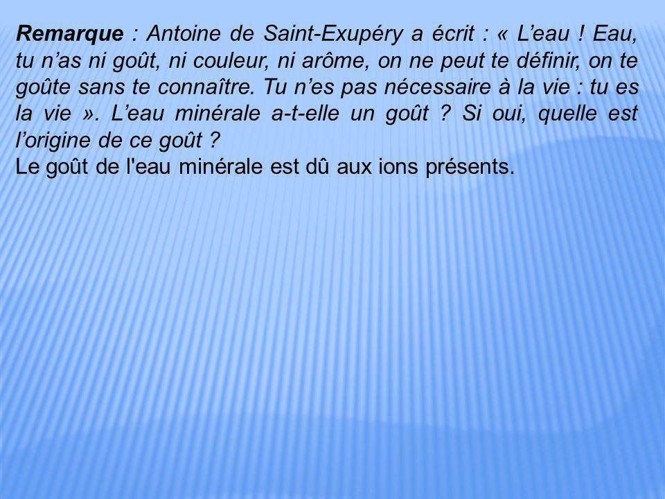 Remarque : Antoine de Saint-Exupéry a écrit : « L'eau