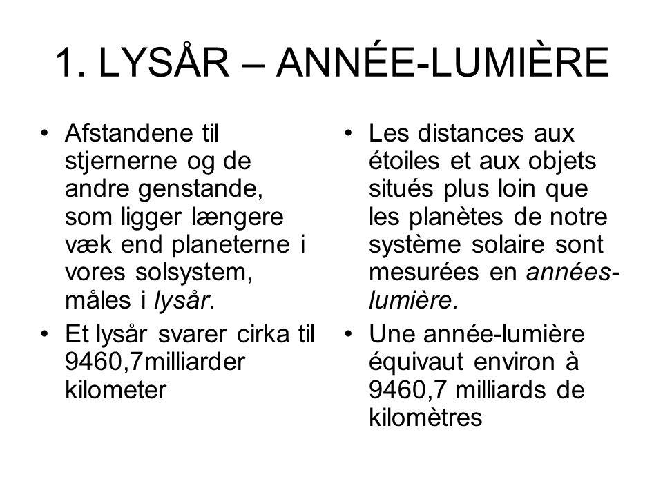 1. LYSÅR – ANNÉE-LUMIÈRE Afstandene til stjernerne og de andre genstande, som ligger længere væk end planeterne i vores solsystem, måles i lysår.