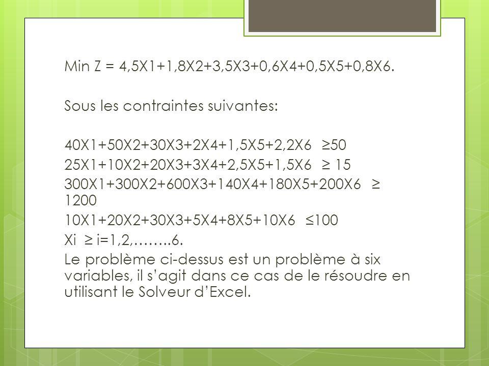 Min Z = 4,5X1+1,8X2+3,5X3+0,6X4+0,5X5+0,8X6.