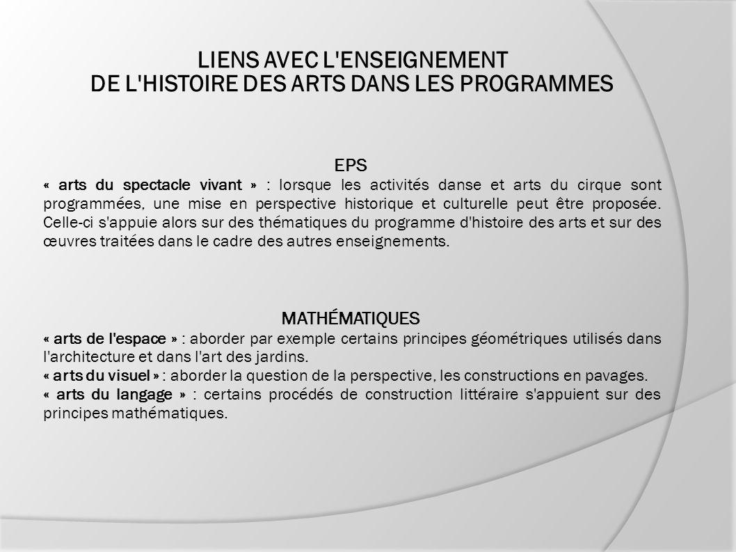 LIENS AVEC L ENSEIGNEMENT DE L HISTOIRE DES ARTS DANS LES PROGRAMMES