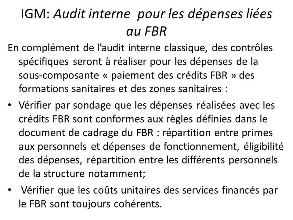 IGM: Audit interne pour les dépenses liées au FBR