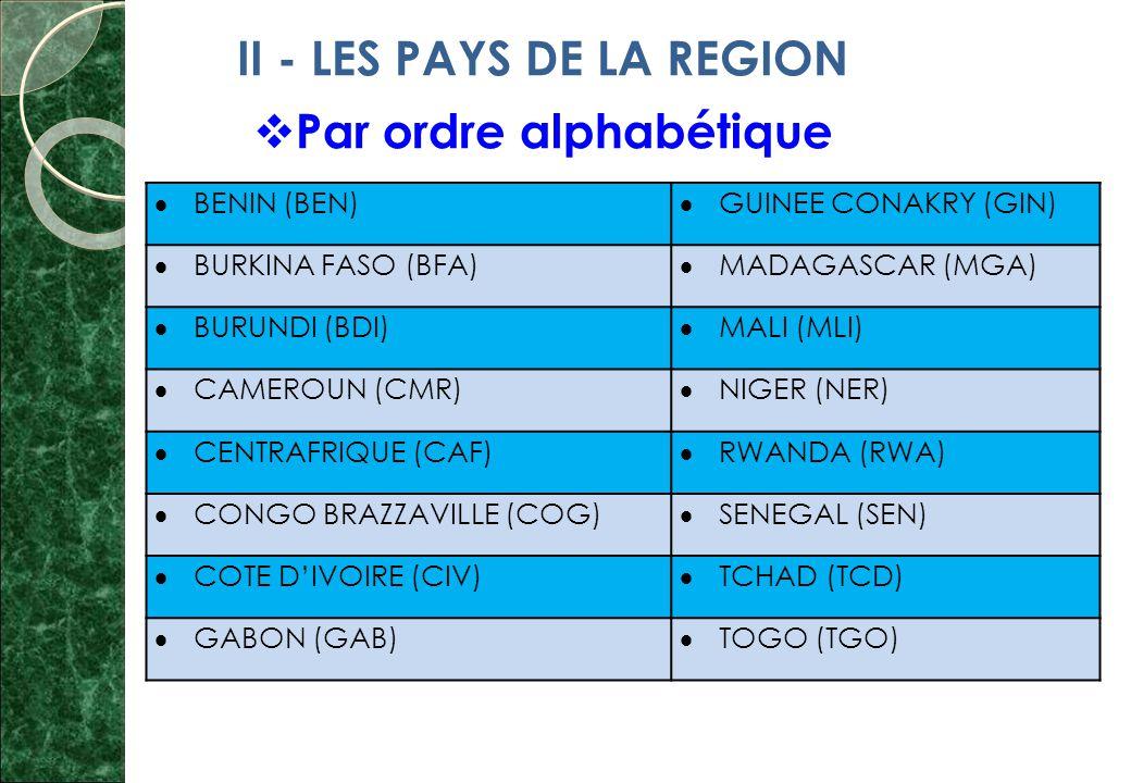 II - LES PAYS DE LA REGION