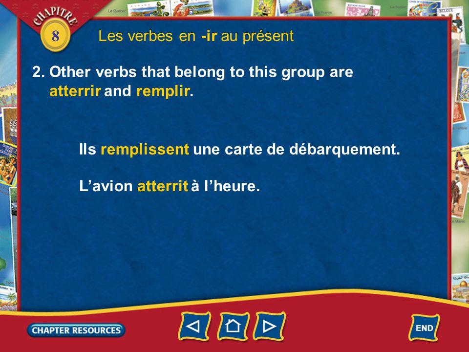 Les verbes en -ir au présent