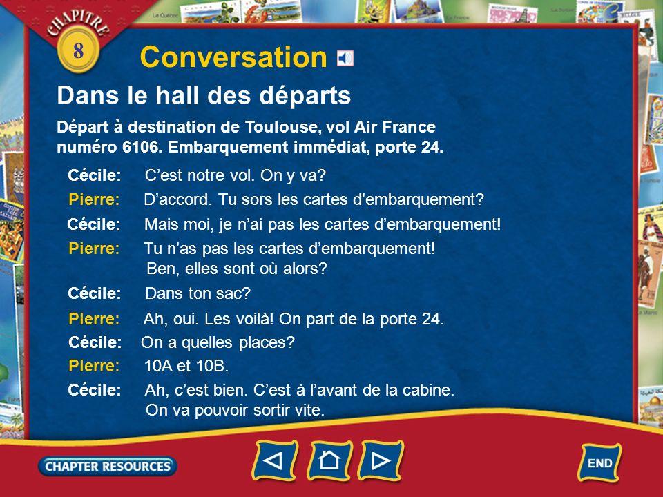 Conversation Dans le hall des départs