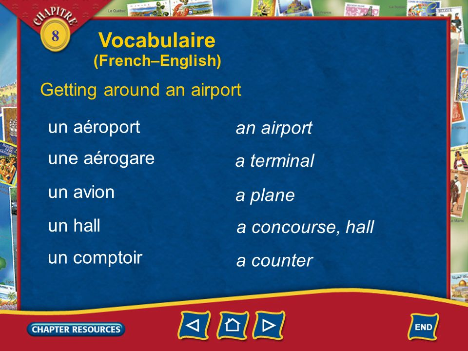 Vocabulaire Getting around an airport un aéroport an airport