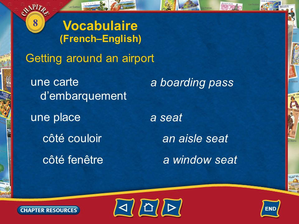 Vocabulaire Getting around an airport une carte d'embarquement