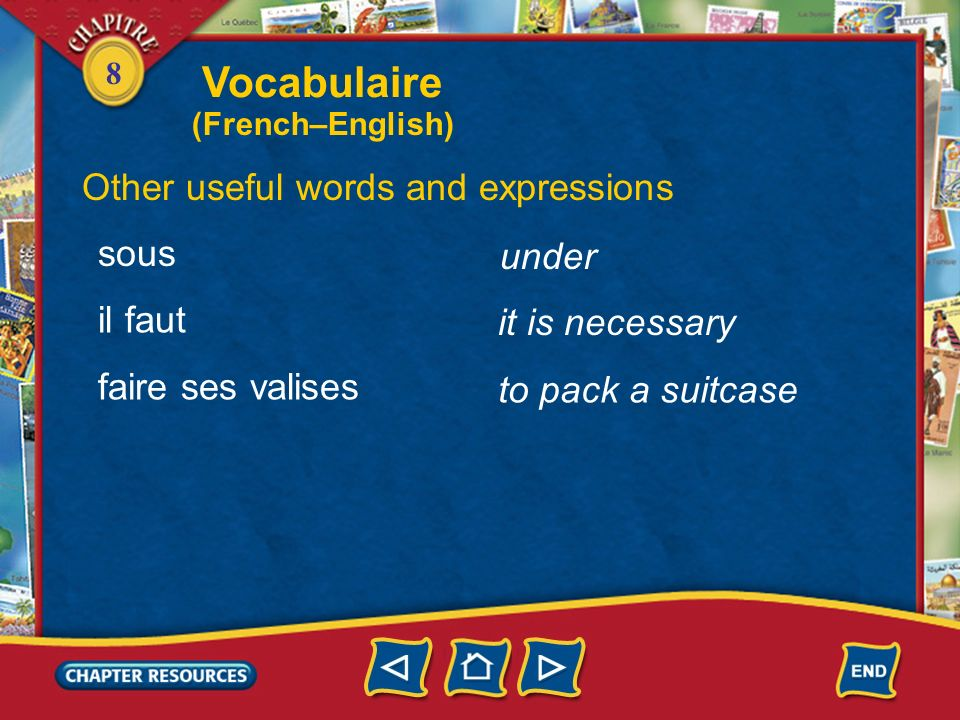 Vocabulaire Other useful words and expressions sous under il faut