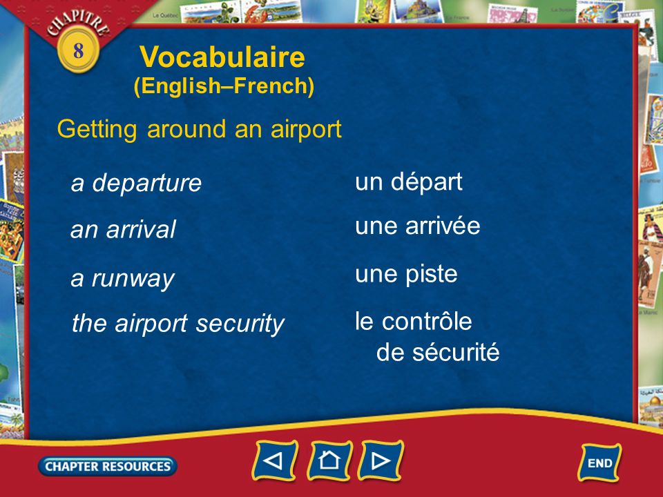 Vocabulaire Getting around an airport a departure un départ