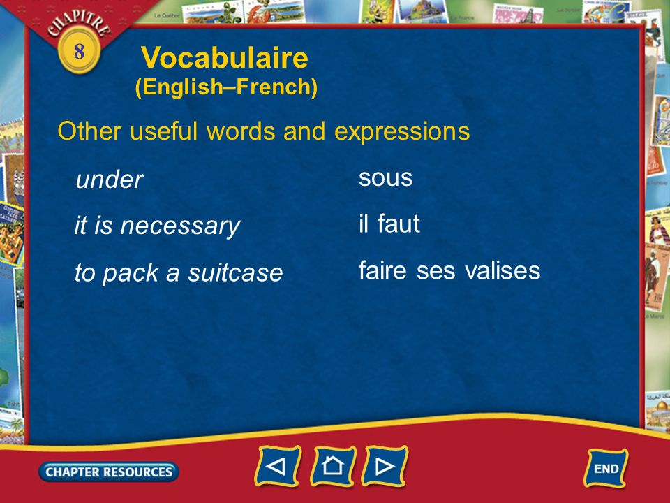 Vocabulaire Other useful words and expressions sous under