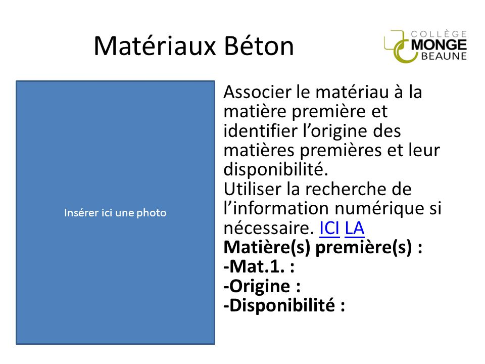 Matériaux Béton Insérer ici une photo.