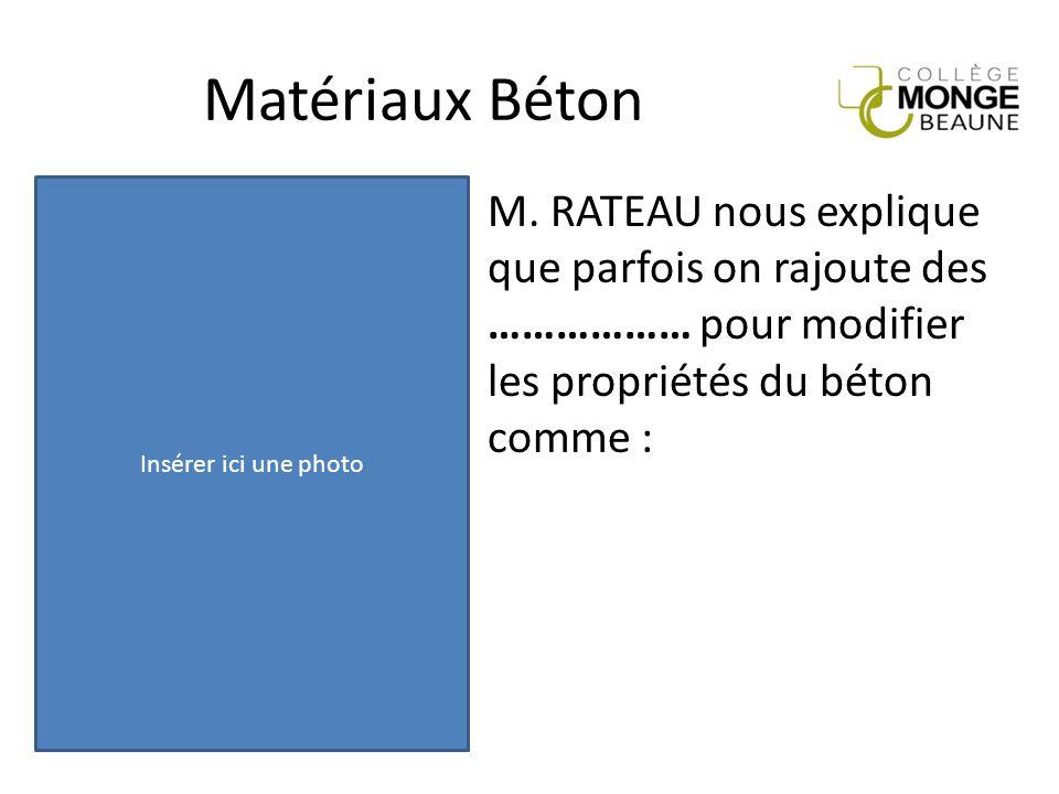 Matériaux Béton Insérer ici une photo. M.