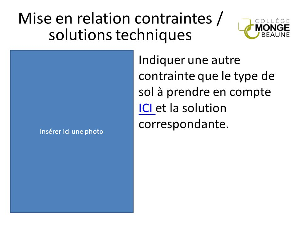 Mise en relation contraintes / solutions techniques