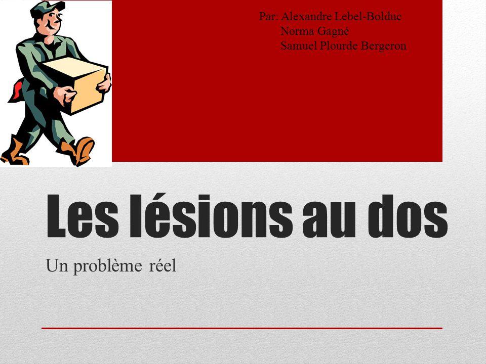 Les lésions au dos Un problème réel Par: Alexandre Lebel-Bolduc