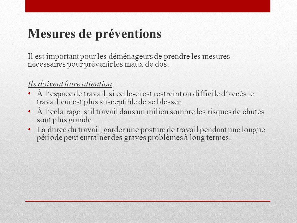 Mesures de préventions