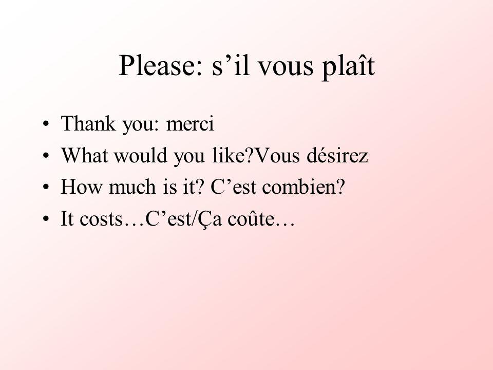 Please: s'il vous plaît