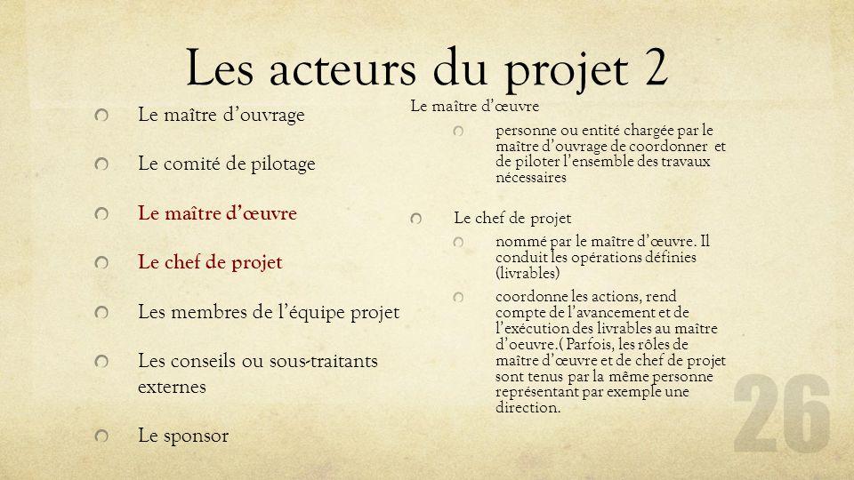 Les acteurs du projet 2 Le maître d'ouvrage Le comité de pilotage