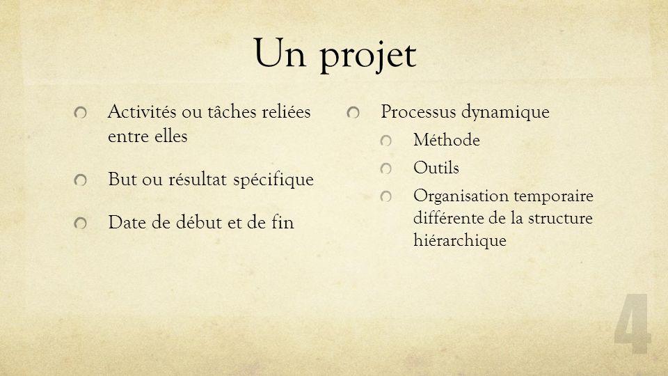 Un projet Activités ou tâches reliées entre elles