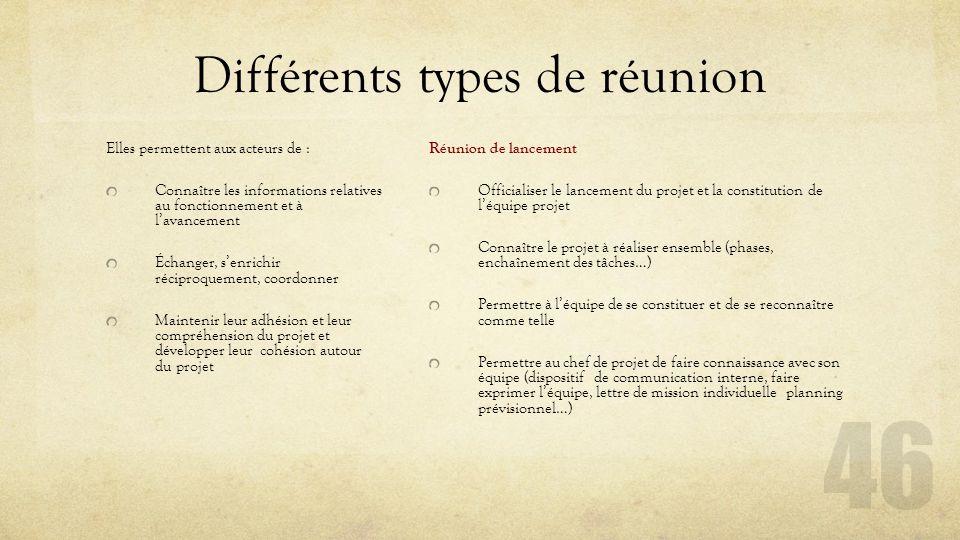 Différents types de réunion