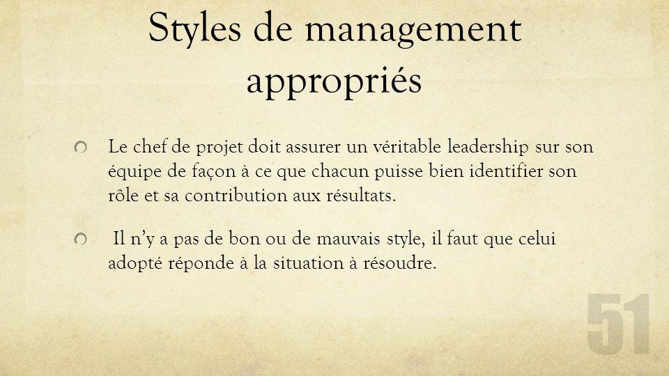 Styles de management appropriés