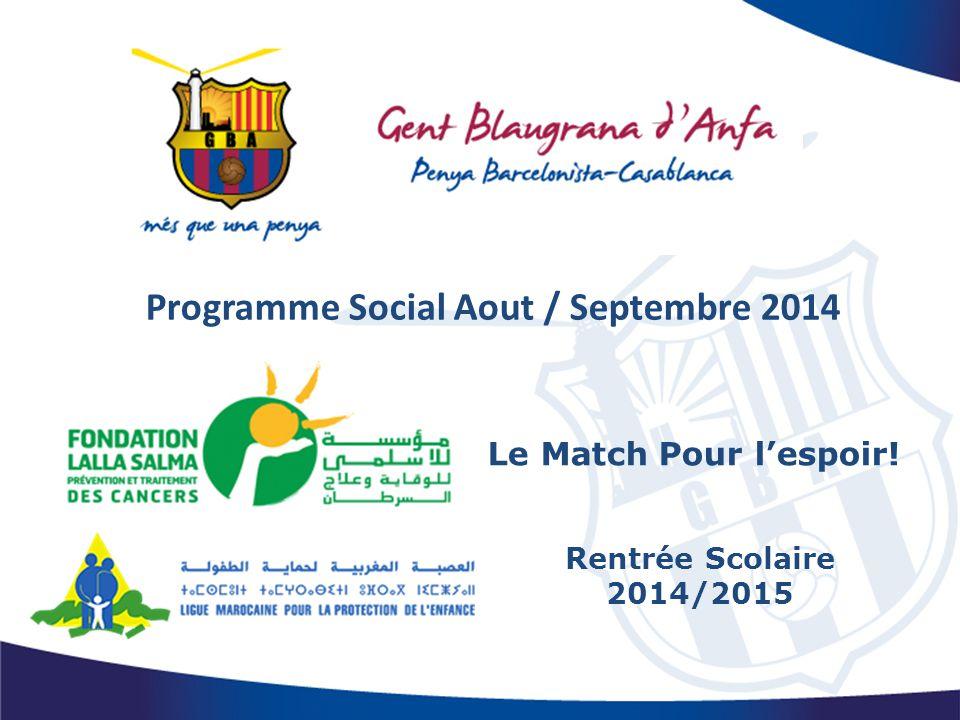 Programme Social Aout / Septembre 2014