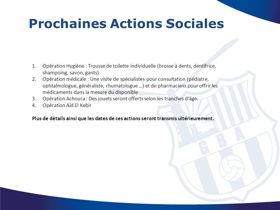 Prochaines Actions Sociales