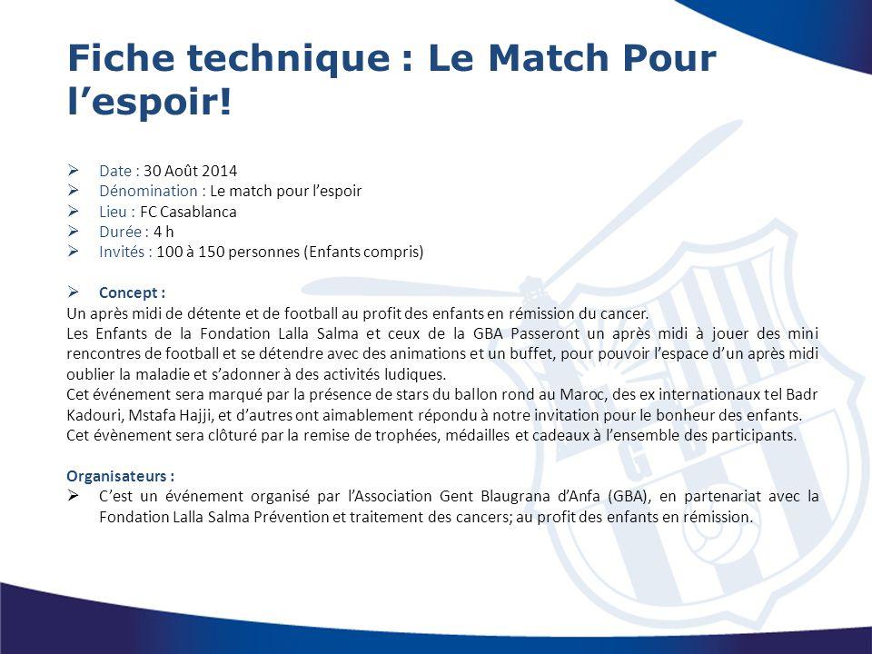 Fiche technique : Le Match Pour l'espoir!