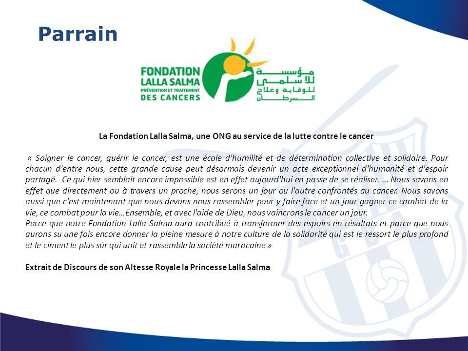Parrain La Fondation Lalla Salma, une ONG au service de la lutte contre le cancer.