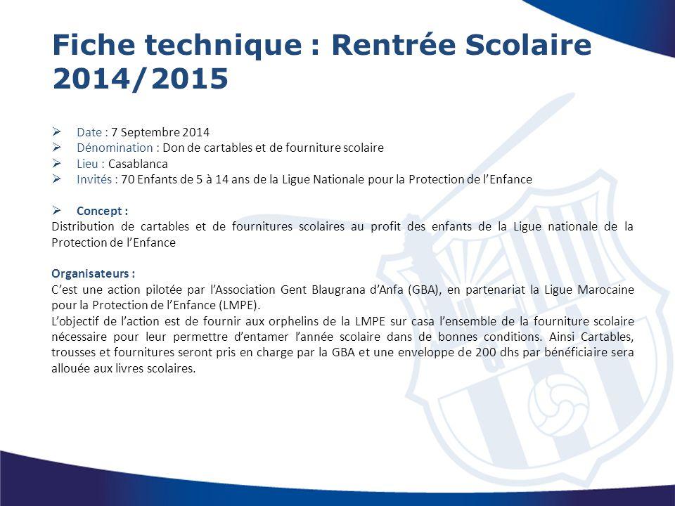 Fiche technique : Rentrée Scolaire 2014/2015