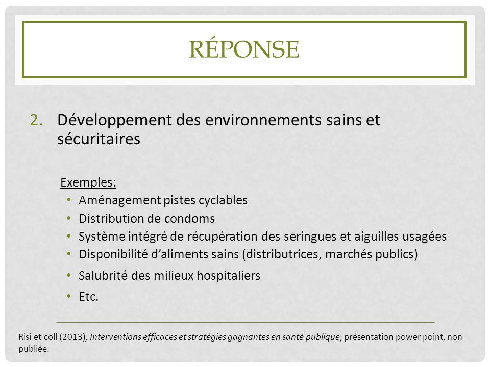 Réponse Développement des environnements sains et sécuritaires
