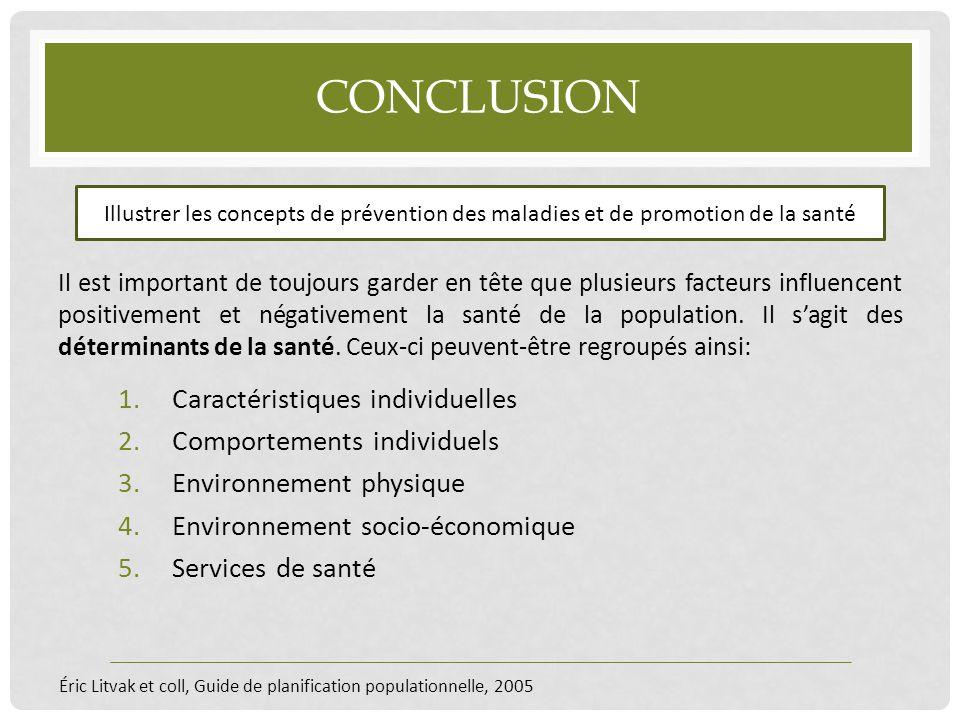 Conclusion Caractéristiques individuelles Comportements individuels