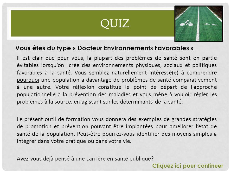 Quiz Vous êtes du type « Docteur Environnements Favorables »