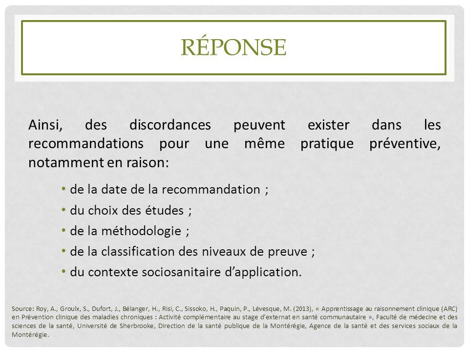 Réponse Ainsi, des discordances peuvent exister dans les recommandations pour une même pratique préventive, notamment en raison: