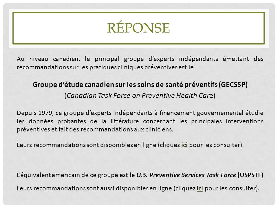 Groupe d'étude canadien sur les soins de santé préventifs (GECSSP)