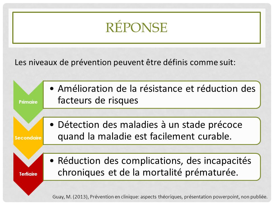 Réponse Les niveaux de prévention peuvent être définis comme suit: