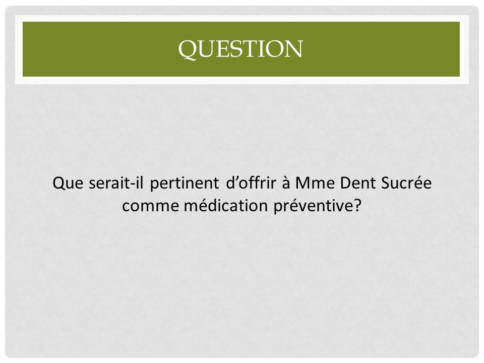 Question Que serait-il pertinent d'offrir à Mme Dent Sucrée comme médication préventive