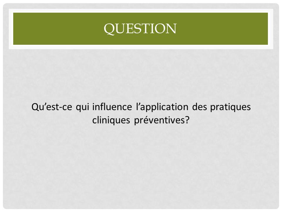 Question Qu'est-ce qui influence l'application des pratiques cliniques préventives