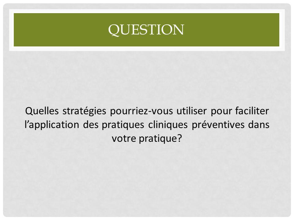 Question Quelles stratégies pourriez-vous utiliser pour faciliter l'application des pratiques cliniques préventives dans votre pratique