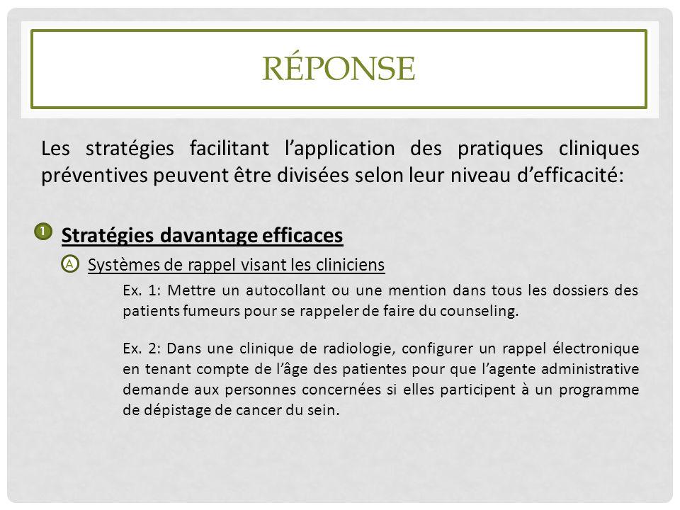 Réponse Les stratégies facilitant l'application des pratiques cliniques préventives peuvent être divisées selon leur niveau d'efficacité: