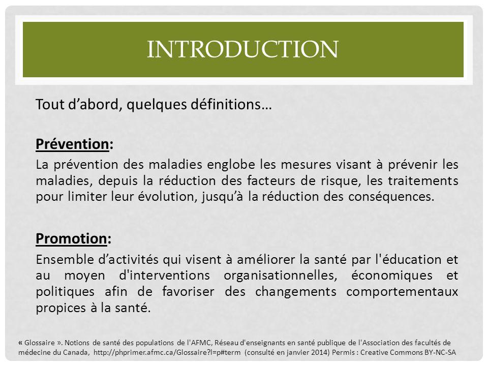 Introduction Tout d'abord, quelques définitions… Prévention: