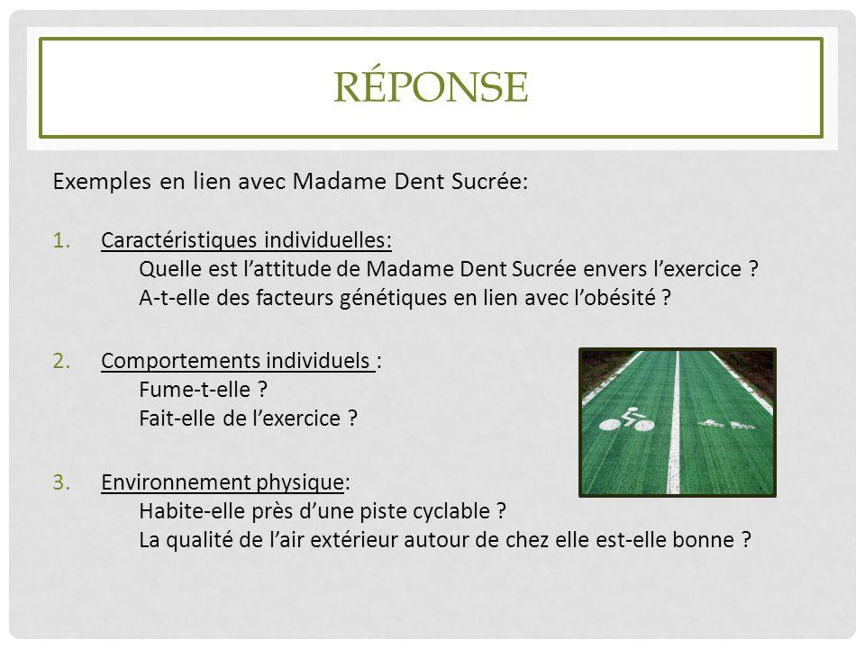 Réponse Exemples en lien avec Madame Dent Sucrée: