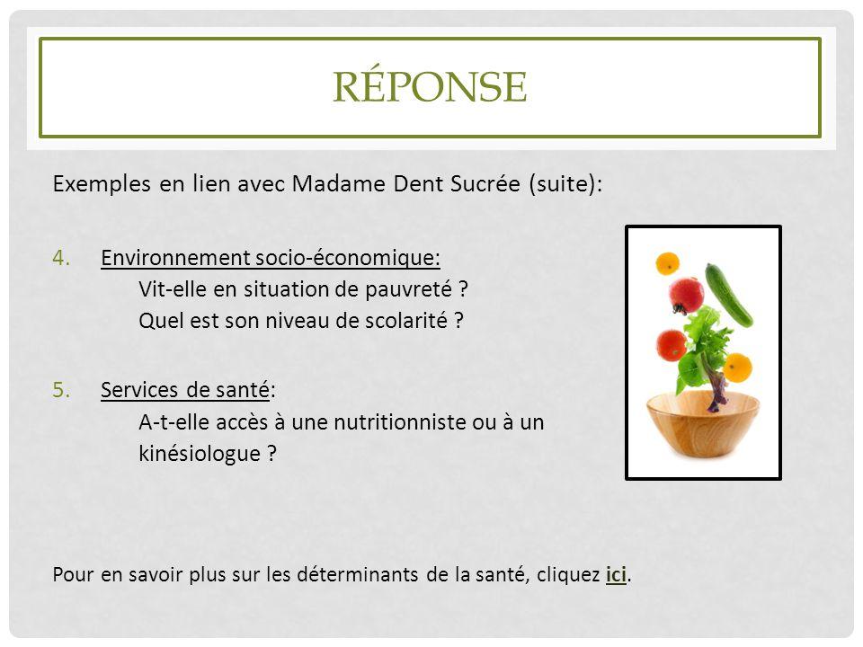 Réponse Exemples en lien avec Madame Dent Sucrée (suite):