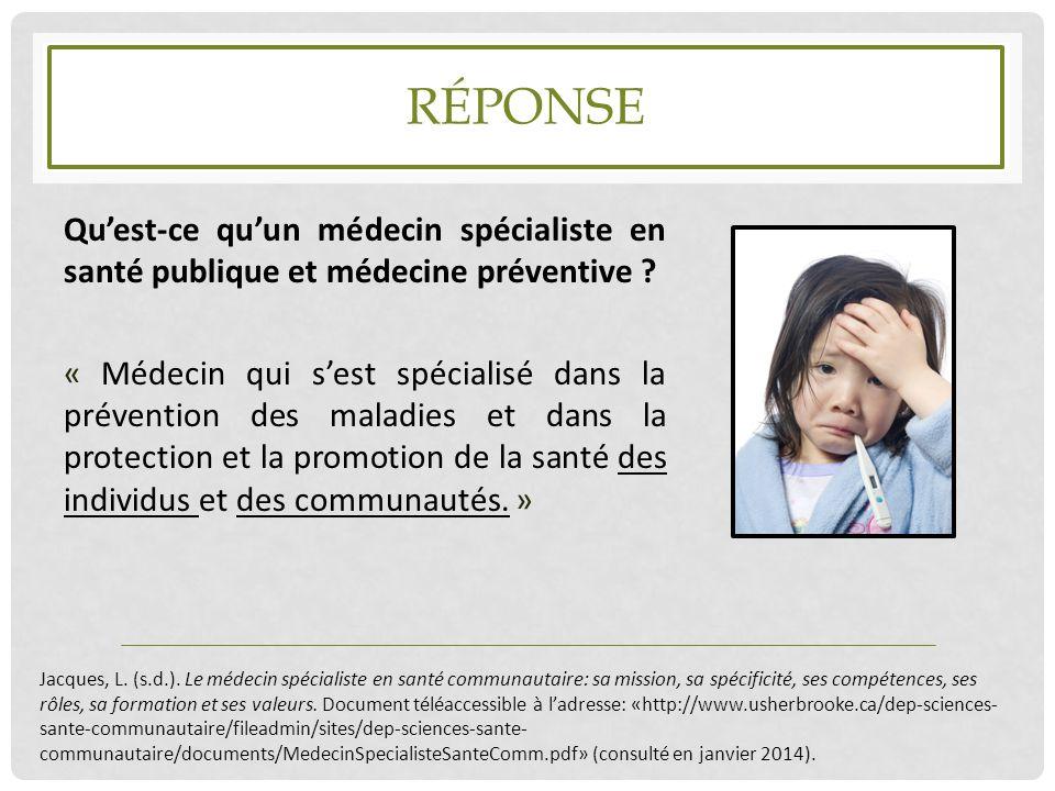 Réponse Qu'est-ce qu'un médecin spécialiste en santé publique et médecine préventive